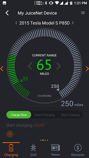 JuiceNet app charging Tesla