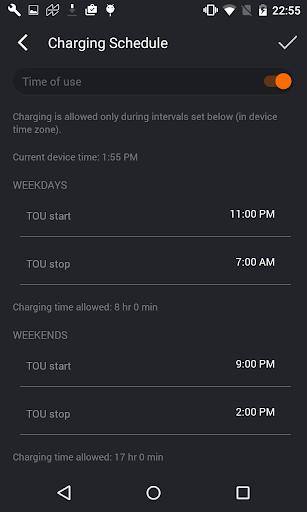 JuiceNet app charging schedule