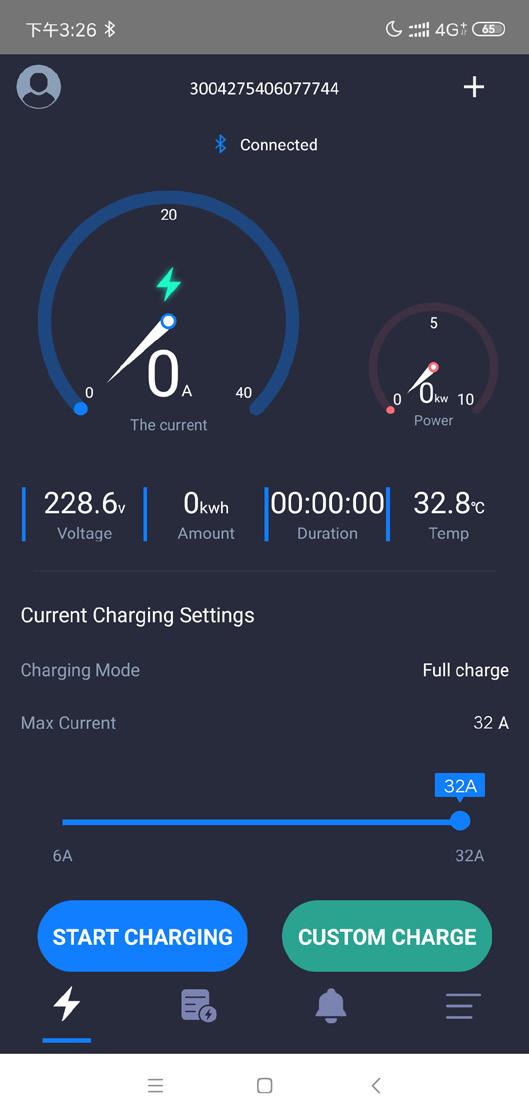Domača stran EVSE aplikacije